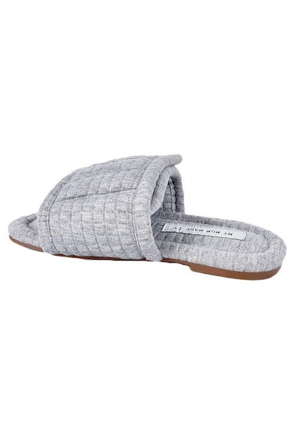 Grey Quilted Cotton Slides