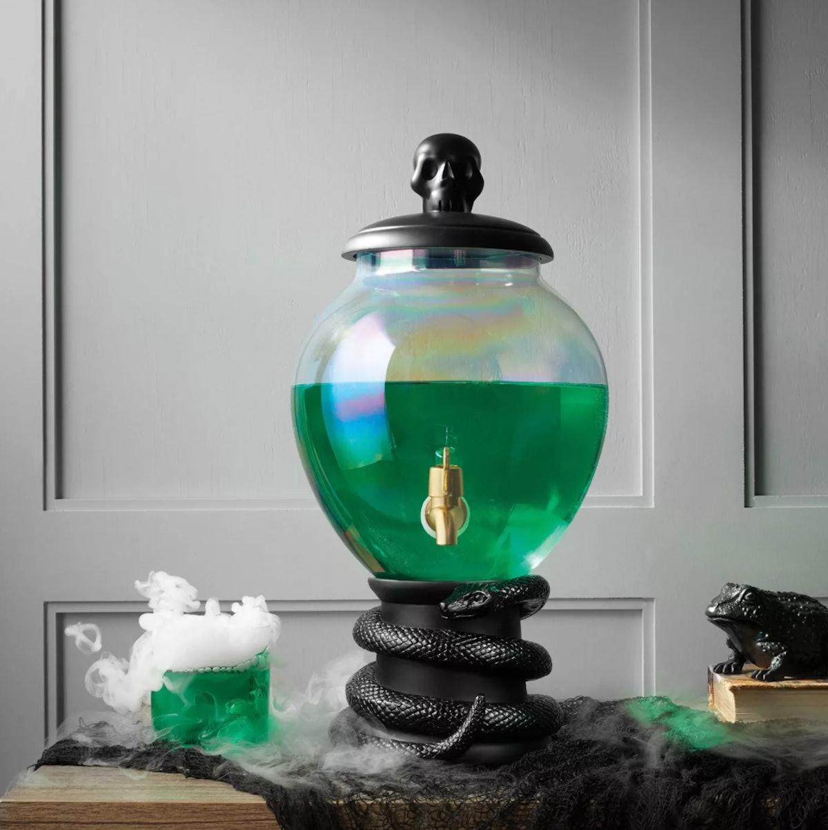 5L Halloween Light-Up Glass Beverage Dispenser (with Black Snake Base)