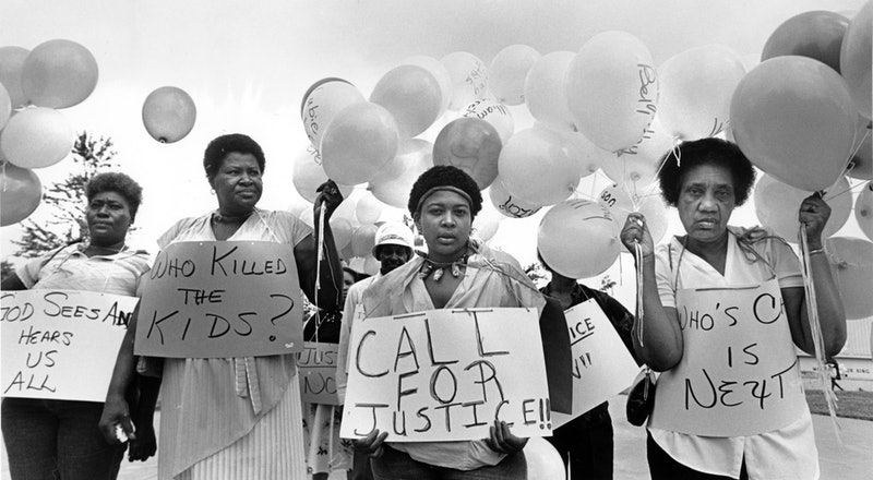 Atlanta mothers Evelyn Miller, Willie Mae Mathis, Sheila Baltazar and Annie Hill protest in 1984