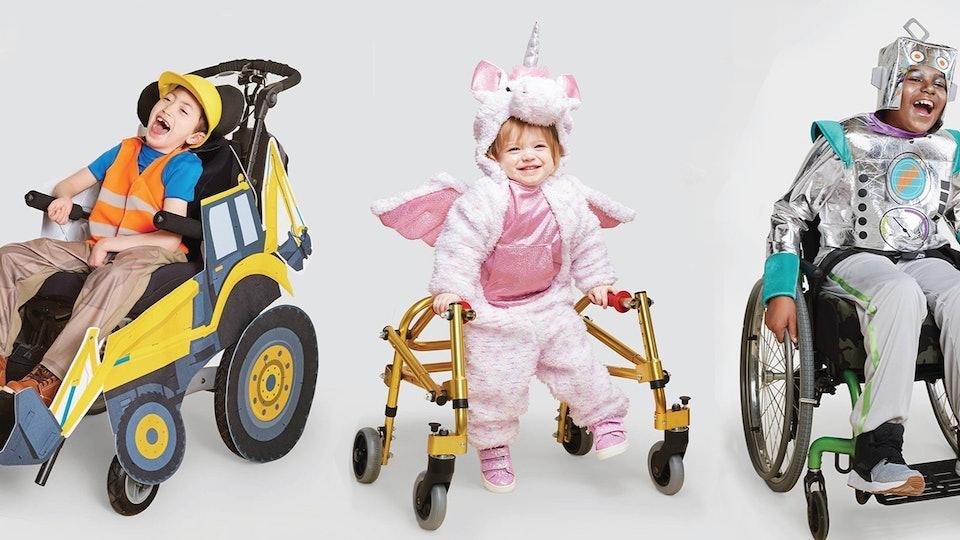 kids wearing target's adaptive halloween costumes