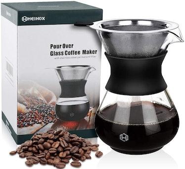HEIHOX Glass Pour Over Coffee Maker