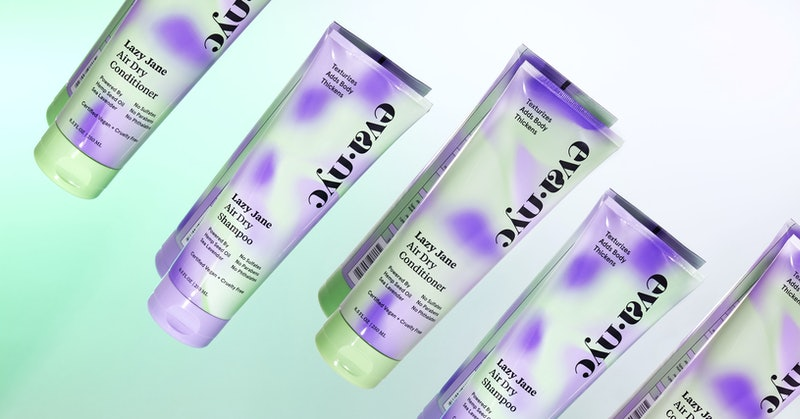Bottles of shampoo and conditioner from the Eva NYC Lazy Jane Air Dry collection.