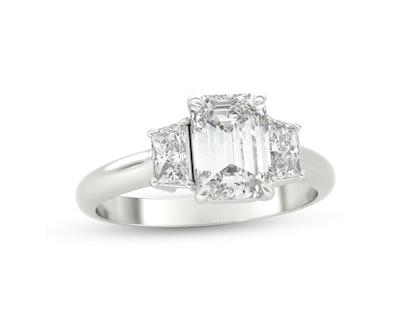 Zales 1 1/3 ct t,w. Emerald-Cut and Trapeze-Cut Diamond Three Stone Engagement Ring