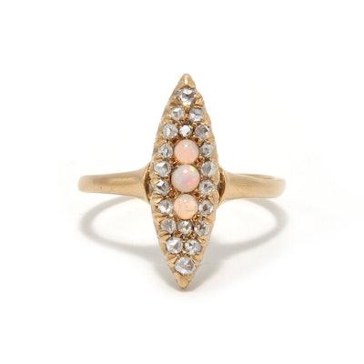 OPAL AND ROSE CUT DIAMOND NAVETTE