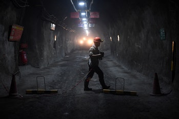 A staff worker in a nickel mine in Jinchuan, China in January 2020.