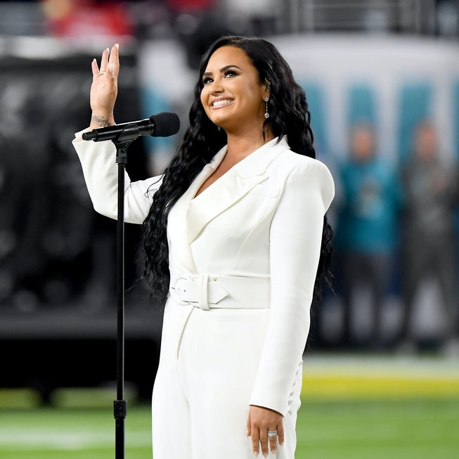 Demi Lovato performs the National Anthem onstage during Super Bowl LIV at Hard Rock Stadium on February 02, 2020 in Miami Gardens, Florida.