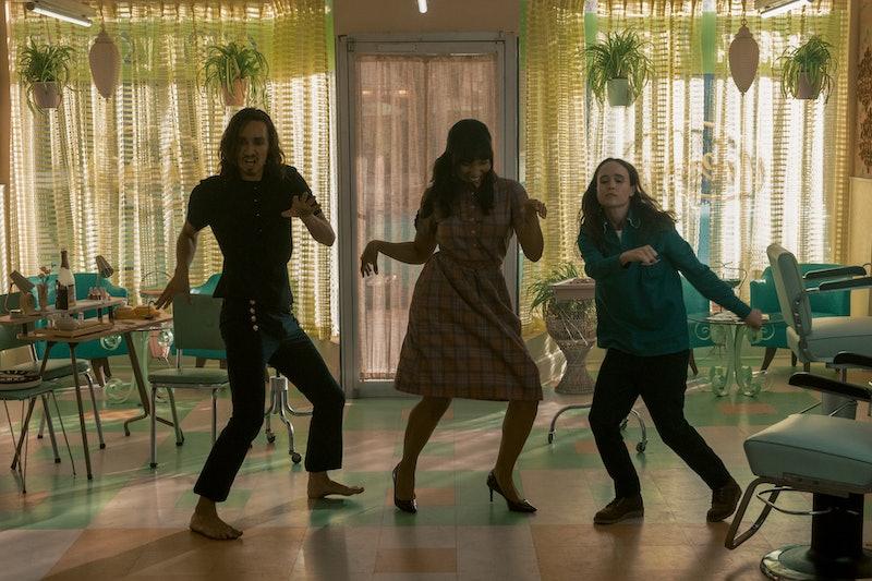 Robert Sheehan, Emmy Raver-Lampman, and Ellen Page in 'The Umbrella Academy' Season 2 via the Netflix press site