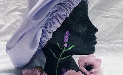A satin sleep bonnet from Etsy store Sleep Tings