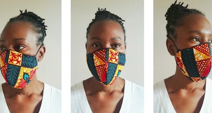 A trio of images of a woman wearing a hand-made face mask