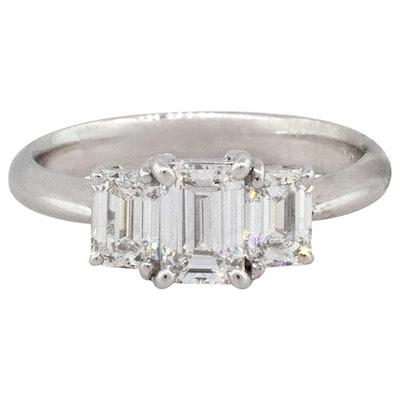 Platinum 1.41 Carat Emerald Cut Diamond Three-Stone Engagement Ring