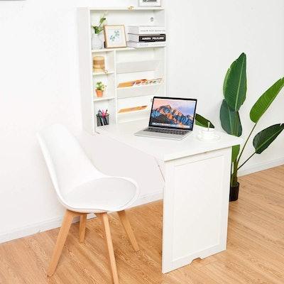 TANGKULA Wall Mounted Table Fold Out Desk