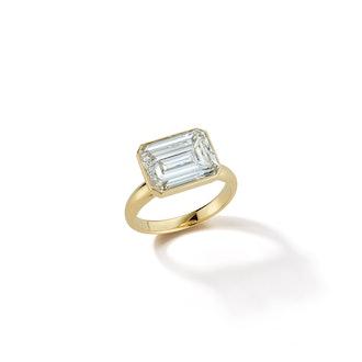 18k Gold Bespoke East-West Emerald Cut Diamond Ring