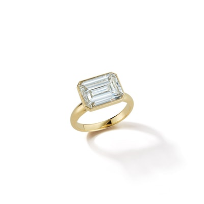 18k Gold Bespoke East-West Emerald Cut Diamond Ring