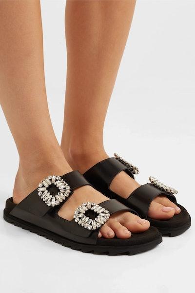 Slidy Viv crystal-embellished leather slides