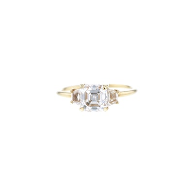 Emerald Cut Triple Diamond Ring