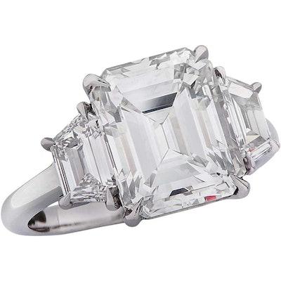 Vivid Diamonds GIA Certified 4.32 Carat Emerald Cut Diamond Engagement Ring