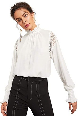 Floerns Stand Collar Lace-Trimmed Chiffon Blouse