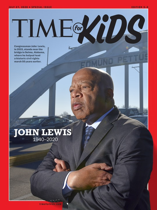 A picture of the great Congressman John Lewis standing resolutely in a black suit, white shirt, and ...