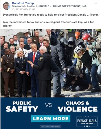 "A Facebook post shared by Donald Trump, which shows him surrounded by administration officials on the left and a Ukraine protest on the right. The bottom of the photo reads, ""Public safety versus chaos and violence."" The post was made by Evangelicals For Trump."