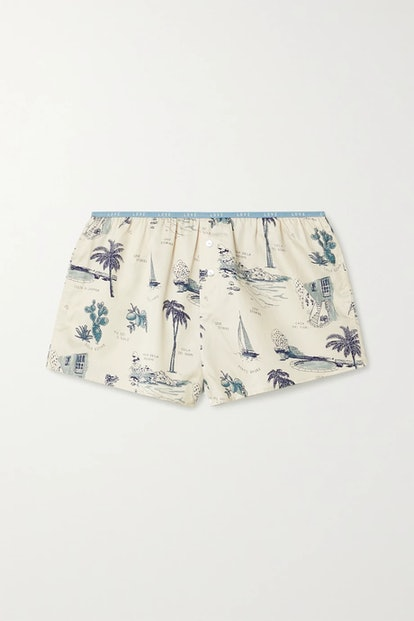 Sunday Printed Cotton-Sateen Pajama Shorts