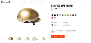 A bicycle helmet on an online store.