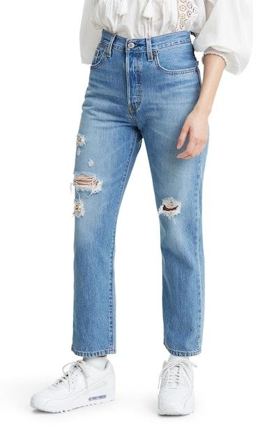 Levi's 501 Ripped High Waist Crop Straight Leg Jeans