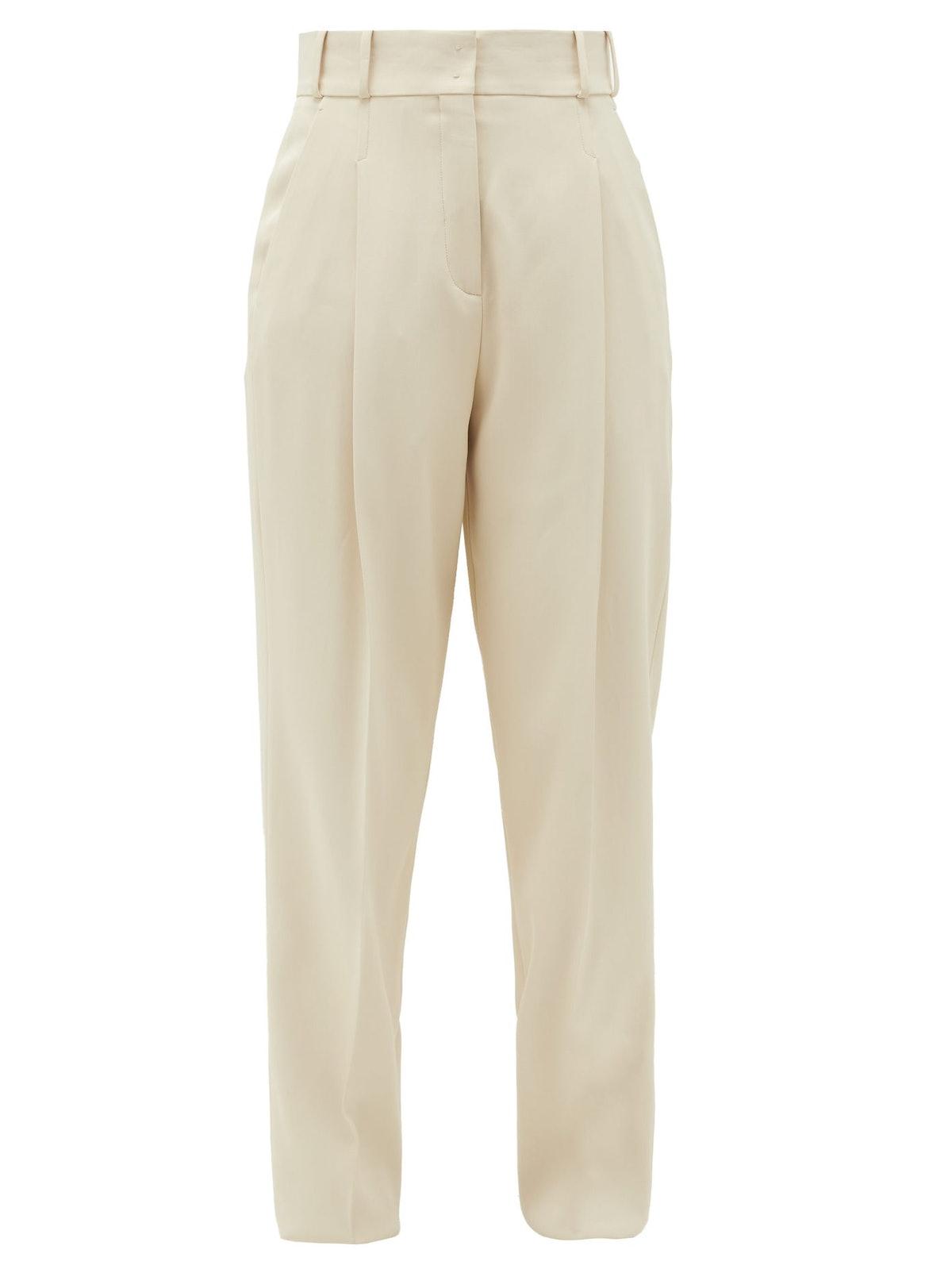 High-Rise Twill Slim Trousers