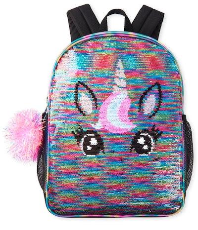 Metallic Flip Sequin Unicorn Backpack