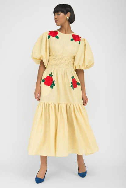 Light Yellow Linen Red Floral Embroidered Midi Dress