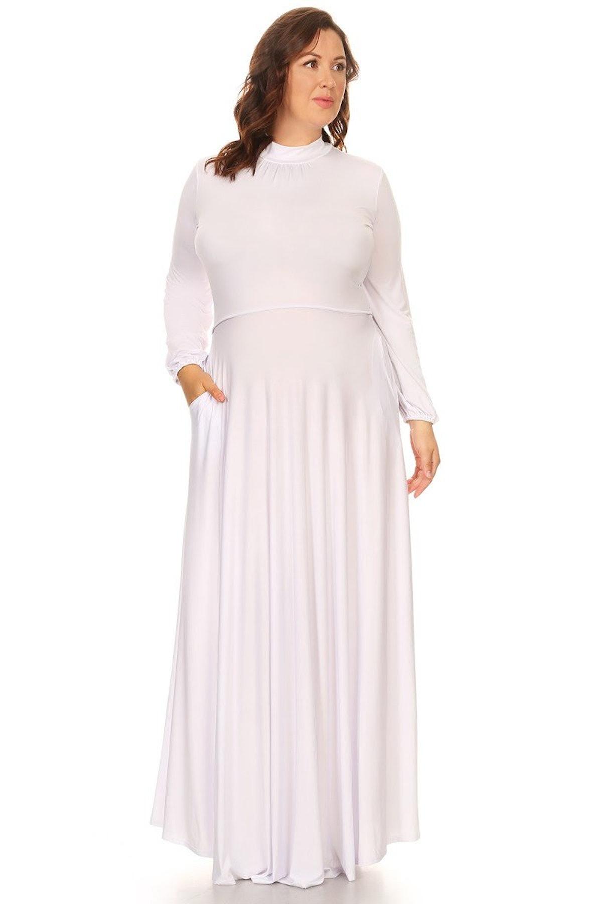 Curvaceous Boutique White Orna Pocket Maxi Dress