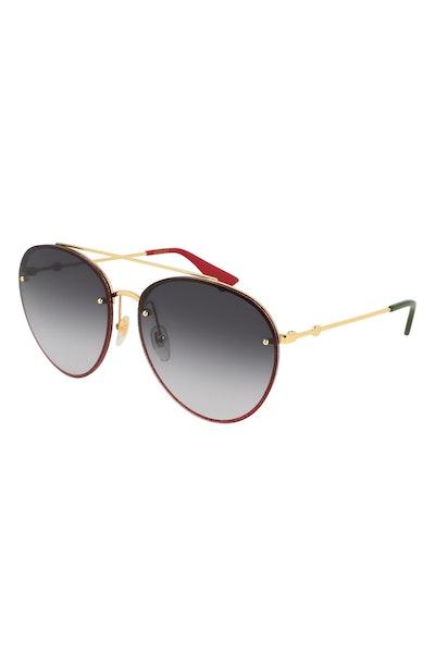 Gucci 62mm Gradient Oversize Aviator Sunglasses