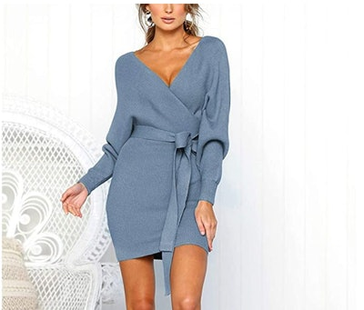 Mansy Women's Long Sleeve Backless Mini Dress