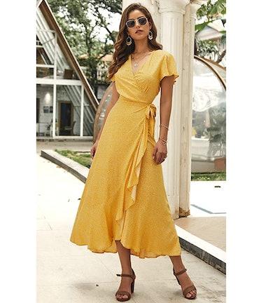 ECOWISH Women's Short Sleeve Maxi Wrap Dress