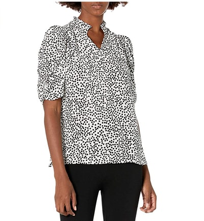 Lark & Ro Women's Georgette Half Sleeve Ruffle Neck Woven Blouse