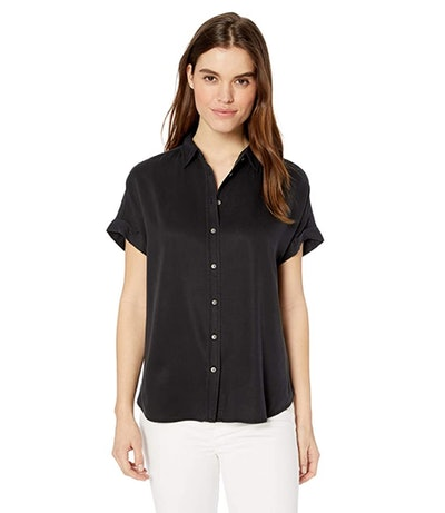 Daily Ritual Women's Tencel Relaxed-Fit Short-Sleeve Shirt