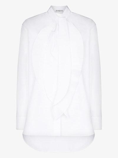 Givenchy Neck Cotton Scarf Blouse