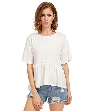 Romwe Women's Loose Ruffle Hem Short Sleeve Tee