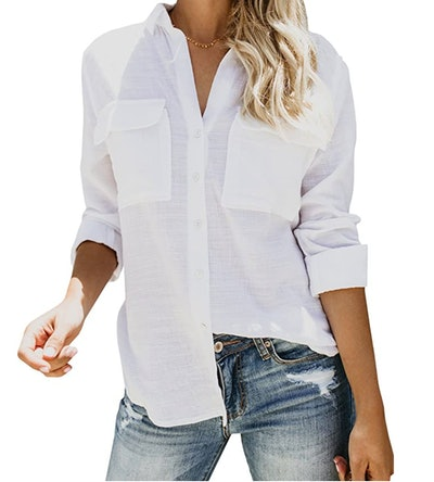 Runcati Women's Button Down V Neck Shirt