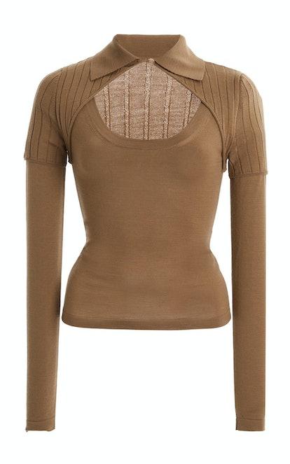 Albi Cutout Wool-Blend Top