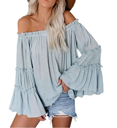 Farktop Women's Off The Shoulder Long Bell Sleeve Top