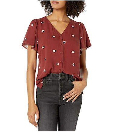 Goodthreads Women's Fluid Twill Covered-Button Short-Sleeve Shirt