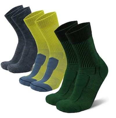 DANISH ENDURANCE, Merino Wool Light Hiking Socks (3-Pack)
