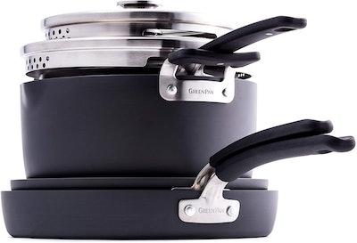 GreenPan Levels Stackable Hard Anondized Ceramic Nonstick Cookware Pots and Pans Set (6 Pieces)