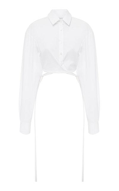 Cropped Tie-Detailed Cotton-Poplin Shirt