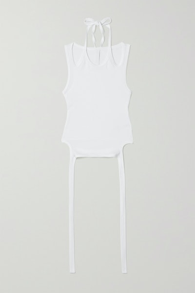 Cropped Tie-Detailed Cotton-Blend Jersey Tank