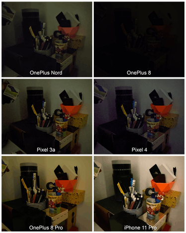 The OnePlus Nord smartphone low-light comparison photos.