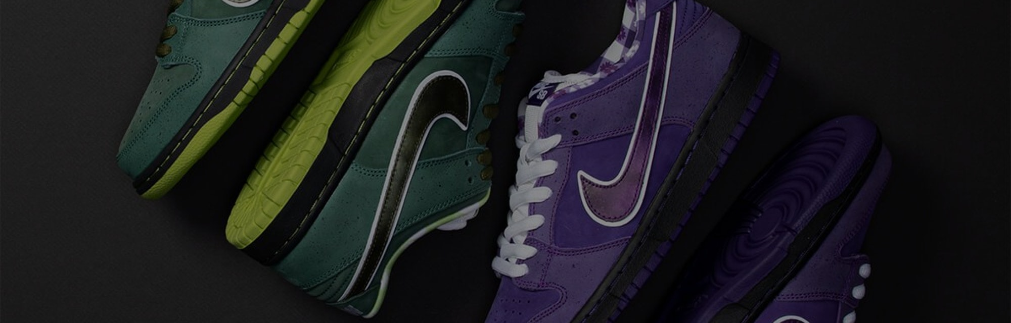 The green and purple Nike SB Lobster Dunk sneakers.