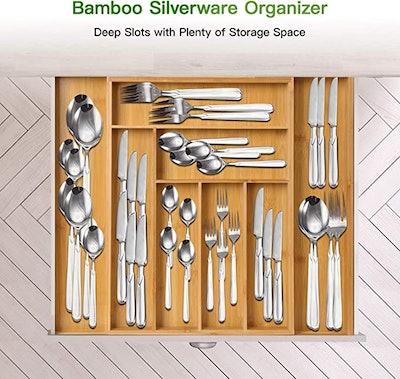 Pipishell Bamboo Expandable Drawer Organizer