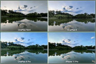 The OnePlus Nord smartphone landscape comparison photos.