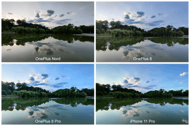 The OnePlus Nord smartphone landscape comparison photos.